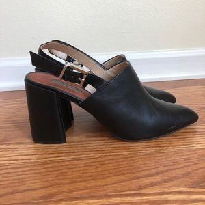 TopShop Black Buckle Strap Mule Heel, Size 8